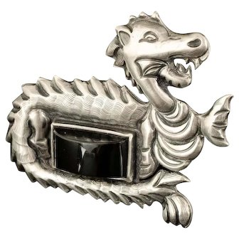 Tobias Mexican Deco silver dragon Pin Brooch