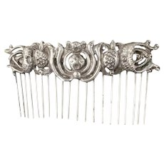 "3.75"" antique Chinese silver repousse Hair Comb Ornament"