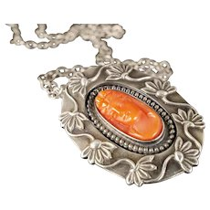Art Nouveau sterling silver coral cameo Pendant Necklace