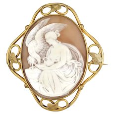 ca 1860 huge shell Cameo mourning Pin Brooch Hebe and Zeus as Eagle