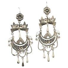 "3.75"" Mexican silver folk art parajitos Earrings"