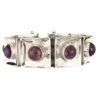 modernist FarFan Mexican silver and amethyst Bracelet