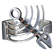 Los Castillo Mexican silver and copper Clamper Bracelet, des 114