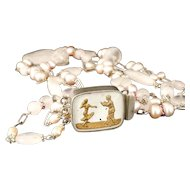 1940s sterling silver 3 strand Necklace jitterbug dancers goofus glass clasp