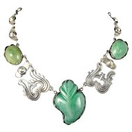 "rare Mexican Deco silver flaming ""sacred heart"" Necklace"