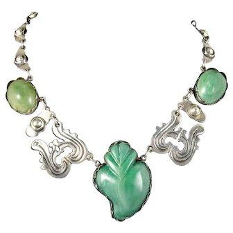 "rare Mexican Deco silver flaming ""sacred heart"" Necklace"