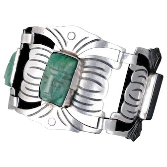 wide Mexican Deco silver and stone masks Bracelet