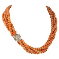 4-strand Art Deco coral bead Necklace, sterling silver filigree clasp