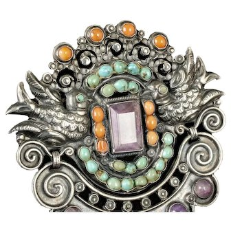 "3.5"" Rivera Mexico City repousse silver jeweled Pin Brooch"