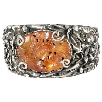 massive brutalist silver Bracelet with Chinese carved carnelian medallion