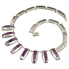 modernist Taxco Mexican silver and amethyst Necklace