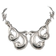 Mexican Deco Taxco silver repousse pectoral Necklace