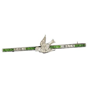 CSS Co Deco sterling silver and diamante pastes bird Bar Pin Brooch