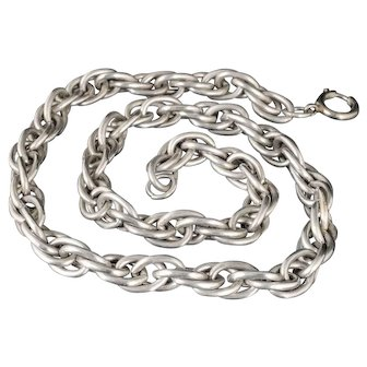 59g Deco sterling silver interwoven links Chain Necklace