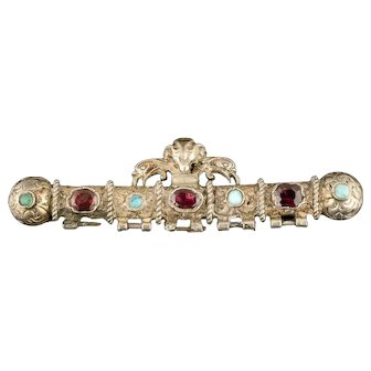 antique Austro-Hungarian silver gilt Bar Pin with garnets and turquoise