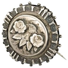 antique Victorian sterling silver three roses Pin Brooch