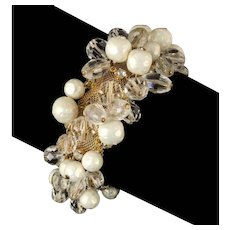 vintage Hattie Carnegie faux pearls, crystal beads, rhinestones Bracelet and Earrings set