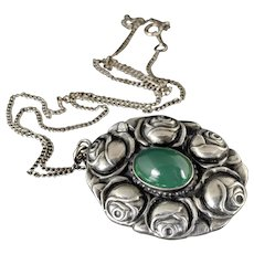 Arts and Crafts sterling silver and chrysoprase roses Pendant Necklace