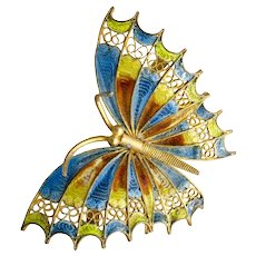 European Deco 800 silver gilt plique a jour butterfly Pin Brooch