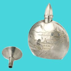 Japanese 950 silver Perfume Bottle and Funnel ~ Mount Fuji