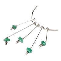 studio modernist 835 silver Necklace with green gems