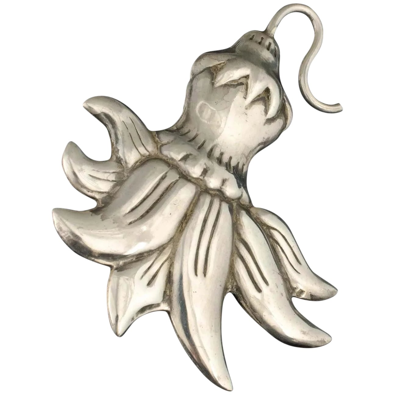 Hector Aguilar squash blossom repousse brooch pin 1940s Taxco