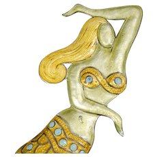 rarest Margot de Taxco Mexican silver enamel mermaid Pin Brooch