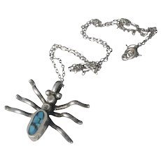Native American / Southwestern silver turquoise spider Pendant Necklace