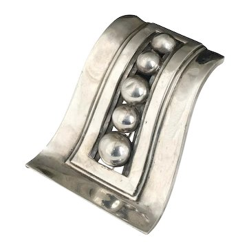 mod 40s Mexican silver beaded wave Pin Brooch