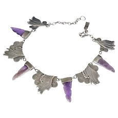 rare Carmen Beckmann Mexican silver amethyst daggers Necklace