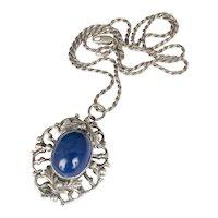 ca 1900 Italian 800 silver sodalite Pin / Pendant Necklace