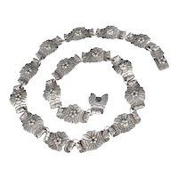 Victoria Ana Brilanti Mexican Deco silver cactus flower Necklace