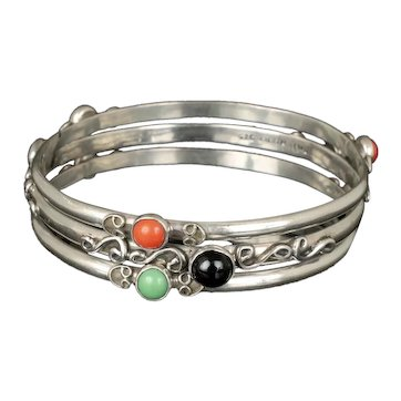 set of 3 Mexican silver and stone cabs Bangle Bracelets