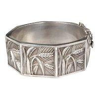 "vintage Topazio Portuguese 835 silver ""wheat"" hinged bangle Bracelet"