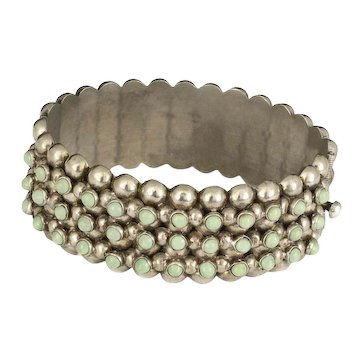 Mexican Deco silver turquoise beaded multi-row hinged Bracelet