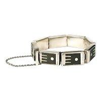 Los Castillo Mexican silver onix negro Bracelet ~ geometric inlay