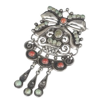 CEL Mexican Deco silver coral and turquoise Pin Brooch