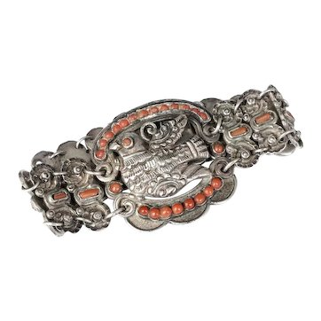 early Matilde Poulat Matl Mexican silver coral Bracelet