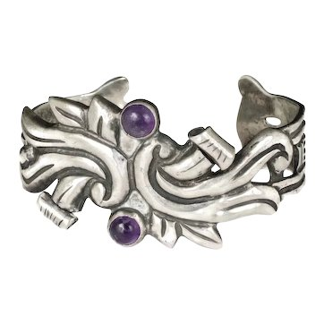 early Mexican Deco repousse silver and amethyst Cuff Bracelet