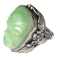 """unusual Mexican Deco silver and carved """"mask"""" Ring"""