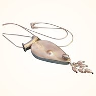 """Lovely Sterling Blister and Freshwater Dangle Pearl Pendant Necklace With 18"""" Sterling Chain"""
