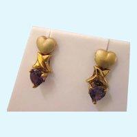 Romantic 10K Amethyst Hearts Pierced Earrings