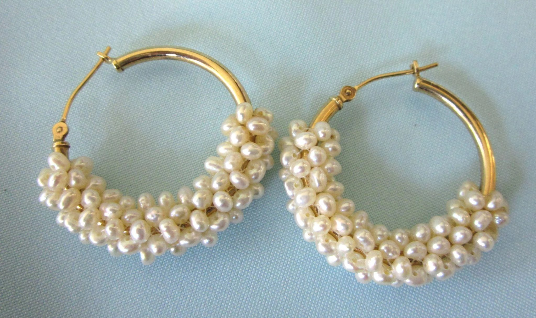 Estate 14K Yellow Gold and Wire Wrapped Freshwater Pearl Chunky Hoop ...