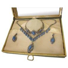 Mid-20th Century Blue Rhinestone Parure in Original Mirrored Presentation Box - Pendant Necklace, Bracelet, Earrings