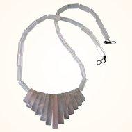 """Vintage Rose Quartz Art Deco Design 16-3/4"""" Necklace, Sterling Clasp"""