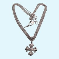 Vintage Signed Lois Hill Sterling Maltese Cross Pendant Necklace, Multistrand Chain
