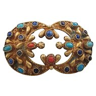FINAL CLEARANCE   Ornate Vintage Etruscan Design Gemstone and Brass Large Brooch