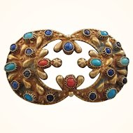 Ornate Vintage Etruscan Design Gemstone and Brass Large Brooch