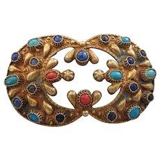 Ornate Vintage Etruscan Multi-Gemstone and Brass Large Brooch