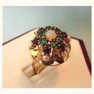 Estate 14K Princess Emerald, Garnet and Pearl Princess Harem Moghal Ring With Gemstones, Size 4-3/4